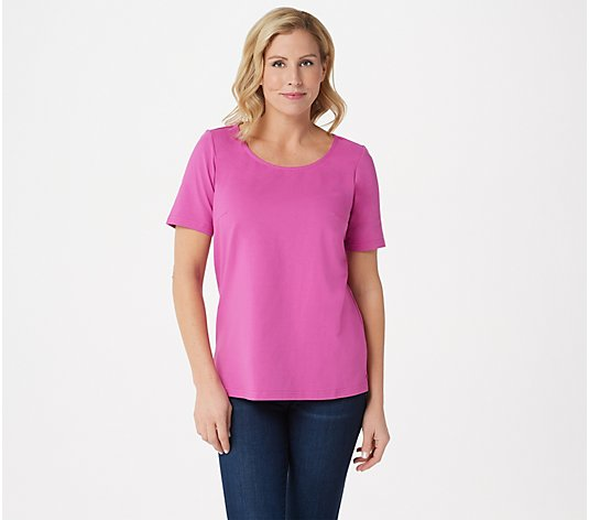 """As Is"" Joan Rivers Wardrobe Builders Scoop- Neck Knit Tee"