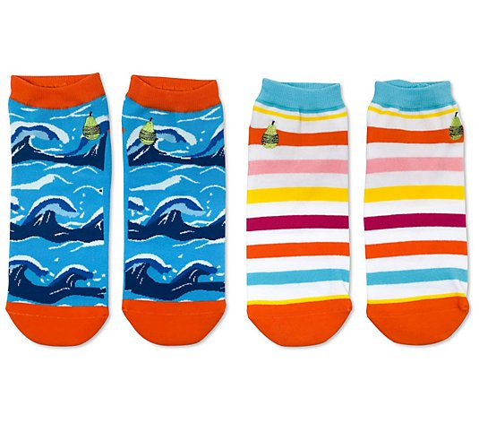 Woven Pear Beach Stripe, Hang Ten Ankle Socks -2 Pack