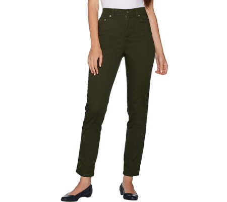 Denim & Co. Petite Slim Leg Classic Waist 5-Pkt Stretch Pants