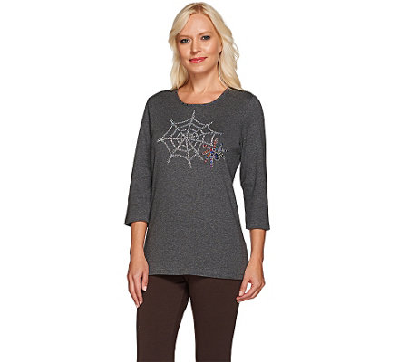 Quacker Factory Falloween Sparkle 3/4 Sleeve T-shirt