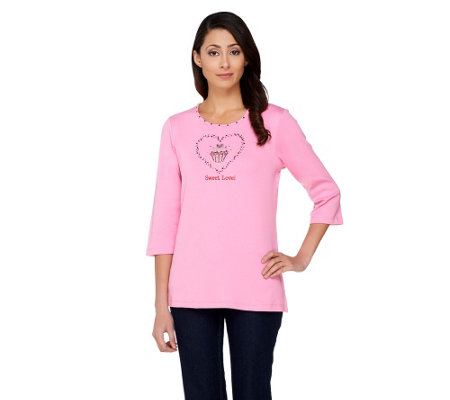 Quacker Factory Sweet Love Cupcake 3/4 Sleeve T-shirt