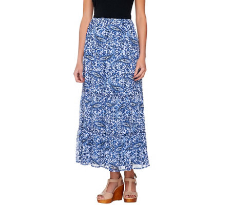 Liz Claiborne New York Pull-On Tiered Printed Maxi Skirt