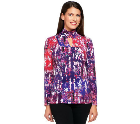 George Simonton Printed Milky Knit Seamed Top with Embellishment