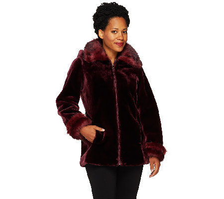 Dennis Basso Faux Sheared Mink Bomber Jacket with Detachable Hood