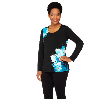 Susan Graver Liquid Knit Floral Print Scoop Neck Long Sleeve Top