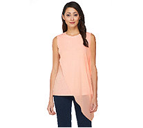 Lisa Rinna Collection Sleeveless Top with Chiffon Drape Overlay - A262907