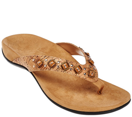 Vionic w/ Orthaheel Embellished Thong Sandals - Floriana
