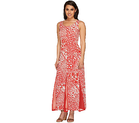 George Simonton Printed Maxi Dress with Solid Mesh Godets