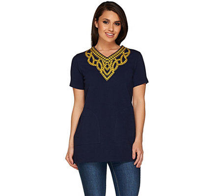 Linea by Louis Dell'Olio Embroidered Short Sleeve Top