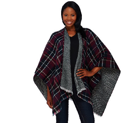Tashon Herringbone Plaid Reversible Runway Ruana