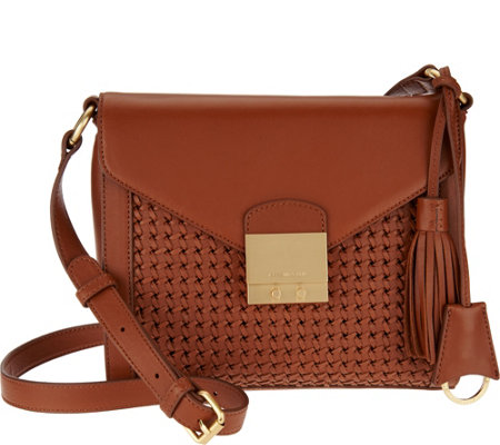 Isaac Mizrahi Live! Whitney Lamb Leather Basketweave Crossbody
