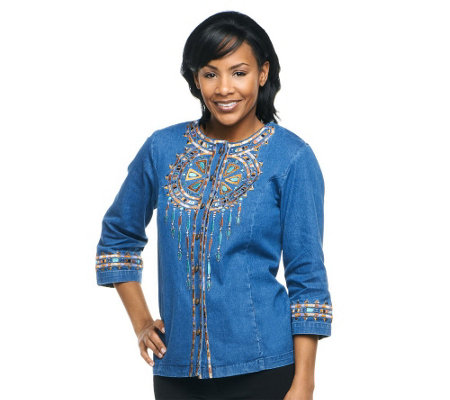 """As Is"" Bob Mackie's Santa Fe Dream Embroidered 3/4 Sleeve Jacket"