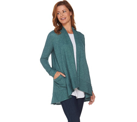 LOGO by Lori Goldstein Waffle Knit Cardigan with Patch Pockets