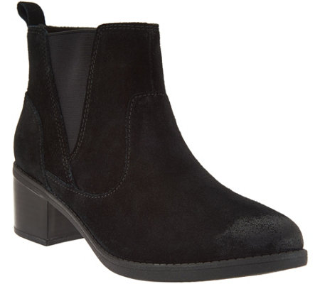 Clarks Suede Stacked Heel Ankle Boots - Nevella Bell