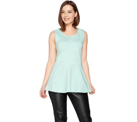 H by Halston French Terry Sleeveless Tunic with Flare Hem