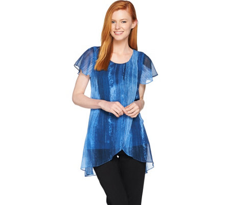 H by Halston Short Sleeve Chiffon Overlay Printed Tunic