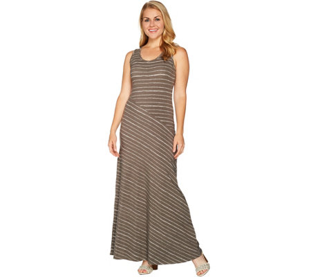 Lisa Rinna Collection Petite Striped Knit Maxi Dress