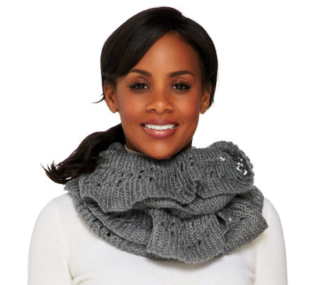 """As Is"" Amiee Lynn Open Knit Ruffled Edge Infinity Scarf"