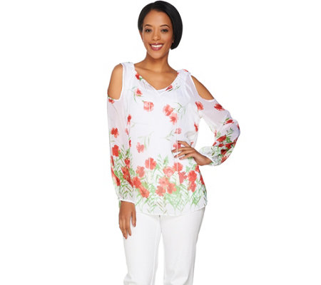 Dennis Basso Floral Print Cold Shoulder Blouse with Cami