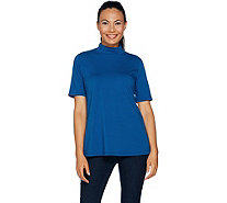 Susan Graver Modern Essentials Cotton Modal Mock Neck Top - A293607