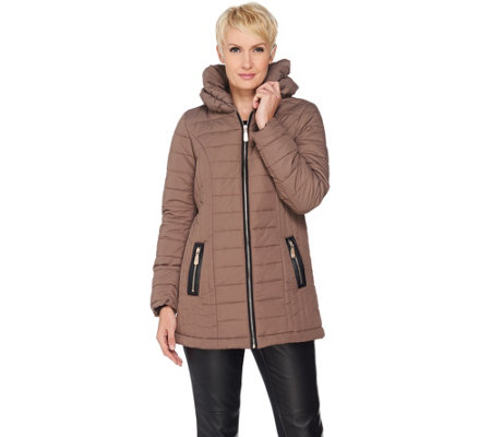 """As Is"" Dennis Basso Pillow Collar Quilted Puffer Jacket"