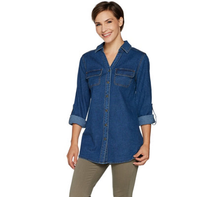 Denim & Co. Button Front Y-Neck Roll-Tab Long Sleeve Denim Shirt