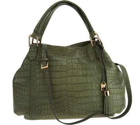 """As Is"" G.I.L.I Croco Embossed Italian Leather Roma 5"