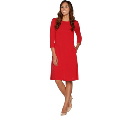 Susan Graver Ponte Knit 3/4 Sleeve Swing Dress