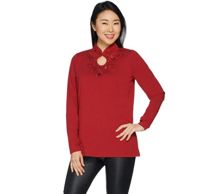 Belle by Kim Gravel TripleLuxe Embellished Keyhole Top