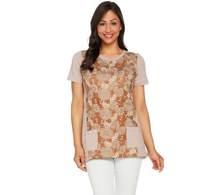 """As Is"" LOGO Lounge by Lori Goldstein Short Sleeve Top with Lace Overlay"