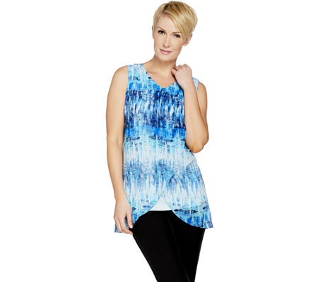 """As Is"" H by Halston Sleeveless Printed Chiffon Overlay Tunic"