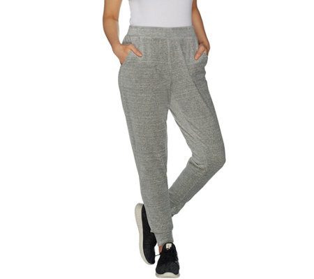 Denim & Co. Active Spacedye Velour Ribbed Cuff Jogger Pants