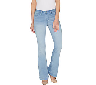 Laurie Felt Petite Silky Denim Baby Bell Pull-On Jeans Bright Blue PS Size QVC