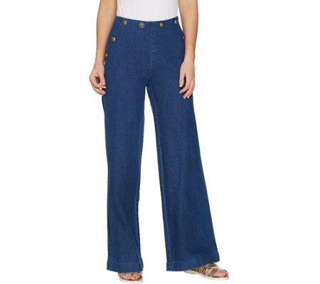 G I L I Regular Sailor Button Waist Wide Leg Jeans