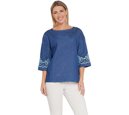 Bob Mackie Drop Shoulder Blouse with Sleeve Embroidery
