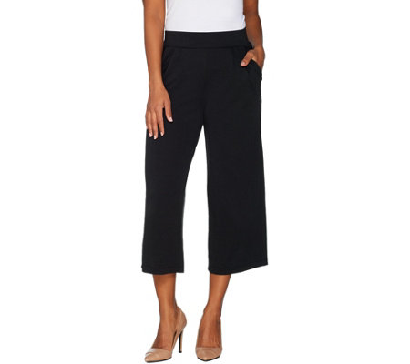H by Halston Regular Knit Cropped Wide Leg Pants