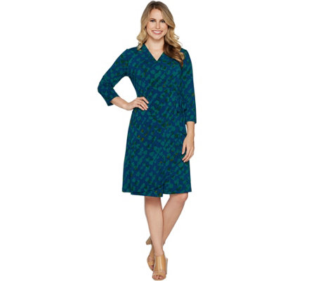 """As Is"" H by Halston Petite 3/4 Sleeve Printed Wrap Dress"