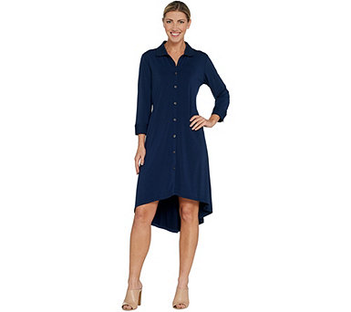 H by Halston Jet Set Jersey 3/4 Sleeve Button Front Shirt Dress - A307707
