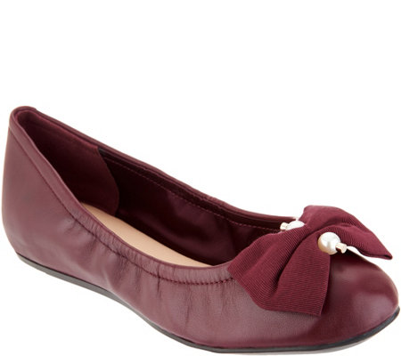"""As Is"" Isaac Mizrahi Live! Leather Ballet Flats with Faux Pearl Bow"