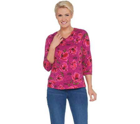 Denim Co Floral Print Perfect Jersey 3 4 Sleeve V Neck Top