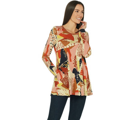 LOGO by Lori Goldstein Printed Knit Long Sleeve Top w/ Stitching