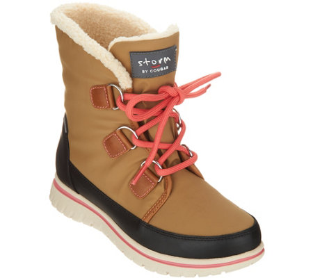 """As Is"" Cougar Waterproof Lace-up Ankle Boots- Sadie"