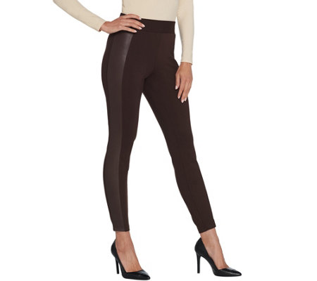 H by Halston Regular Ponte Leggings with Faux Leather Details