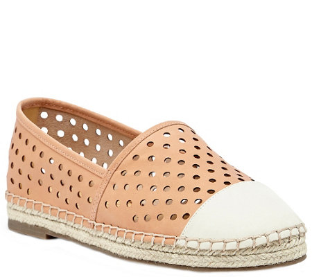 Sole Society Perforated Leather Espadrilles - Elodie