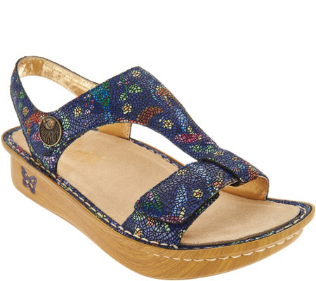 """As Is"" Alegria Leather Sandals with Adjustable Straps-Kendra"