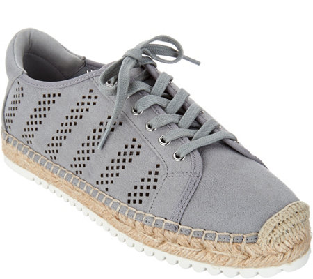 """As Is"" Marc Fisher Perforated Espadrille Sneakers- Baila"