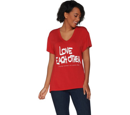 """As Is"" Peace Love World Strong Woman Short Sleeve Mia T-Shirt"