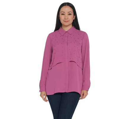Joan Rivers Double Layer Blouse with Crystal Detail