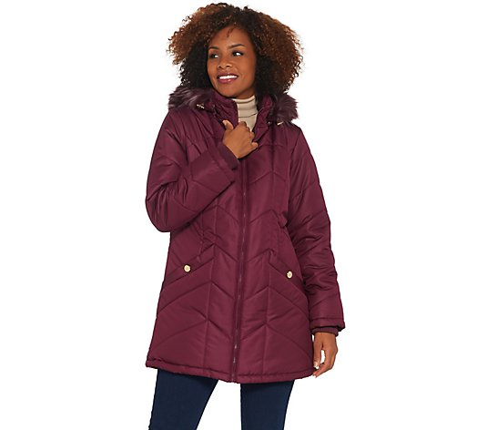 Susan Graver Water Resistant Quilted Puffer Jacket with Removable Hood