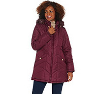 Susan Graver Water Resistant Quilted Puffer Jacket with Removable Hood - A344507